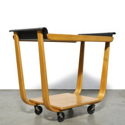Vintage plywood serving trolley 'PB01' by Cees Braakman voor UMS Pastoe, 1950s