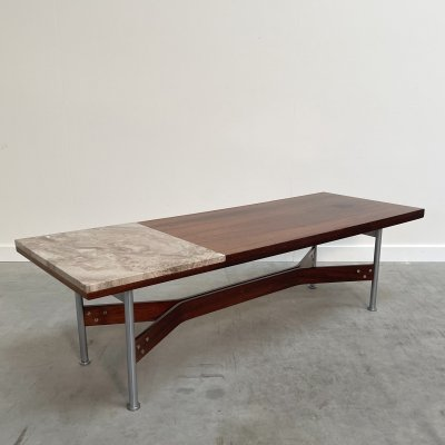 Marble & rosewood Fristho coffee table by Rudolf Glatzel, Netherlands 1960s