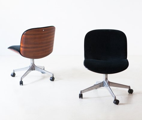 1950s Black Velvet & Rosewood Chairs by Ico Parisi for MIM