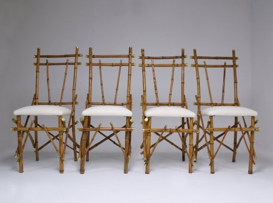 Set of 4 Bamboo & Brass Dining Chairs, 1960's