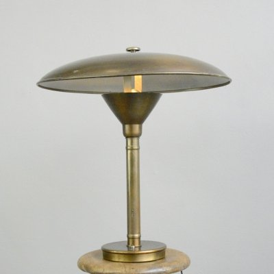 Large Danish Copper Table Lamp, Circa 1930s
