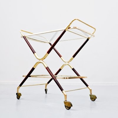 Italian Glass & Brass Trolley by Cesare Lacca, 1950s