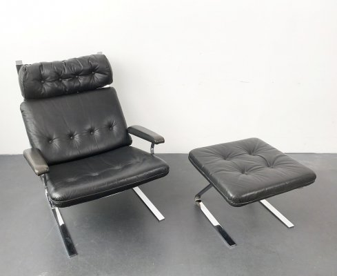 Mid-Century Black Leather & chrome Lounge Arm Chair with Ottoman, Germany 1960s