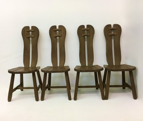 Set of 4 Belgian Brutalist Dining Chairs from De Puydt, 1970's