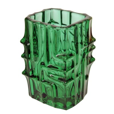 Dark green Glass Vase by Vladislav Urban for Sklo Union Rosice, Czechoslovakia 1970s