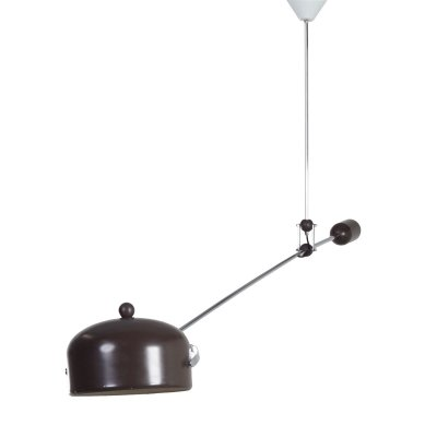 Brown Counterbalance Lamp by J.J.M. Hoogervorst for Anvia, 1960s