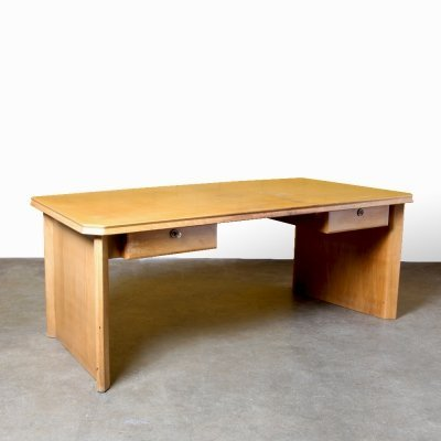 Large blond wood desk by Van Schaik & Berghuis