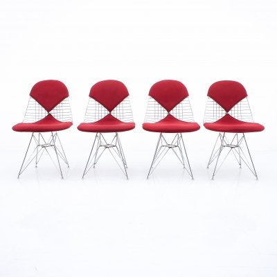 4x Charles & Ray Eames DKR Wire & Eiffel Side Chairs