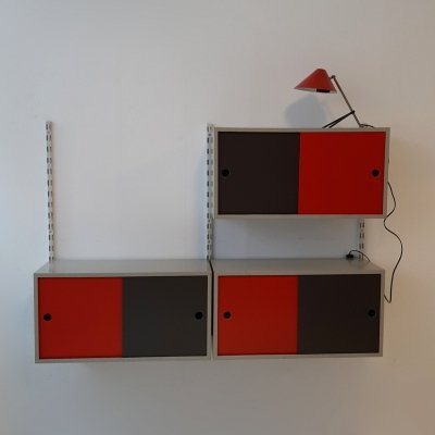 Red, black & grey Wall unit by Tjerk Reijenga for Pilastro, 1960s