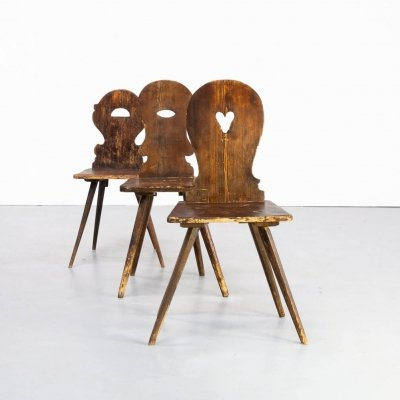 Set of 3 Arts & Crafts wooden dining chairs, 1960s