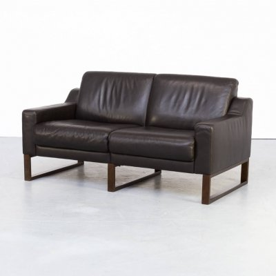 90s Brown leather two seater sofa