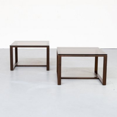 Pair of Smoked glass wenge square coffee tables, 1990s