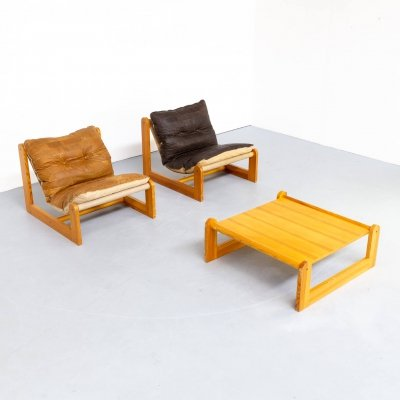 70s Pine wood, leather low chair lounge fauteuil & table