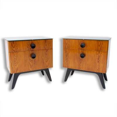 Pair of night stands by Jindřich Halabala for ÚP Závody, Czechoslovakia 1950s