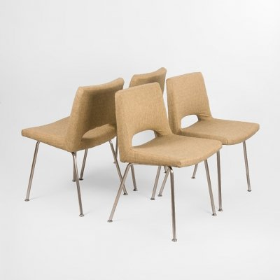Set of 4 upholstered Mid Century chairs, France 1960's