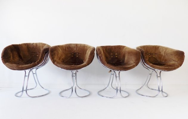 Rima Pan Am set of 4 suede dining chairs by Gastone Rinaldi
