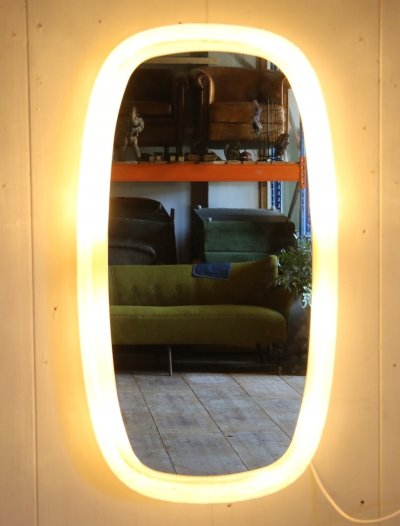 Hillebrand Bathroom Mirror with lighting & plexiglass edge, 1960s