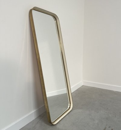 Large vintage mirror with brass frame, 1960s