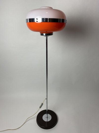 Vintage orange UFO floor lamp, 1970s