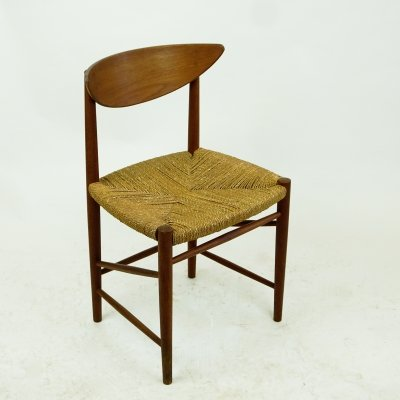 Danish Midcentury Teak Chair with Cane Seat by Peter Hvidt