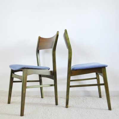 Danish Modern Dining Chairs Stained in an Emerald Color, 1960s