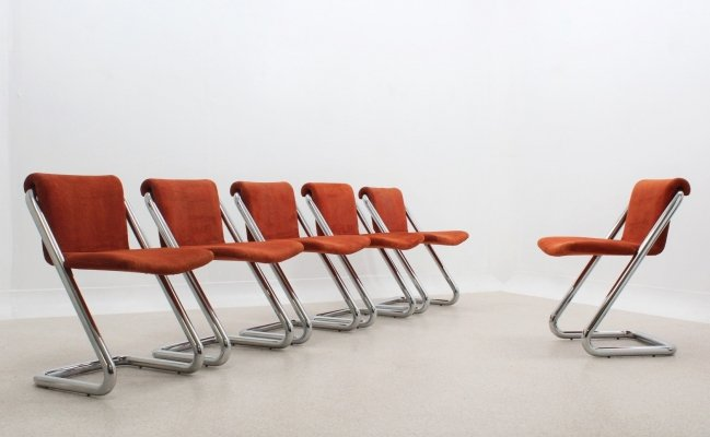 Set of 6 Vintage cantilever chrome dining chairs, 1970s