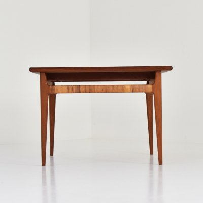 Side table in teak & cane, 1950's