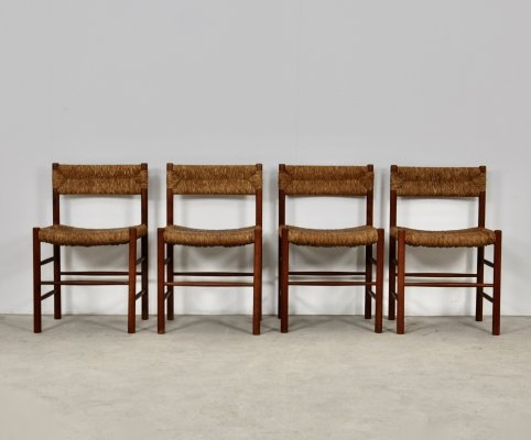 Set of 4 Chairs by Charlotte Perriand for Sentou, 1950s