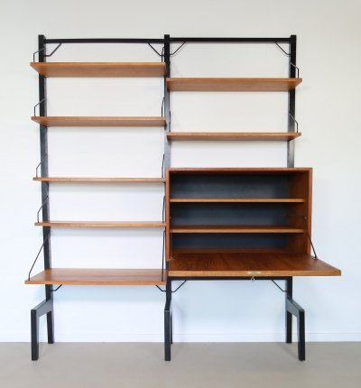 Teak Poul Cadovius wall unit with desk, 1960s