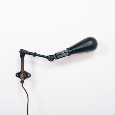 Vintage articulating industrial lamp marked Dugdills patent, 1940s