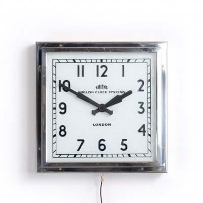 Rare vintage art deco square illuminated clock by Smiths of London, 1930s