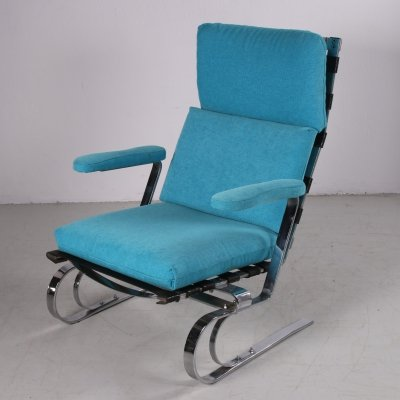 Relax chair With chrome & sea blue upholstery, 1960s