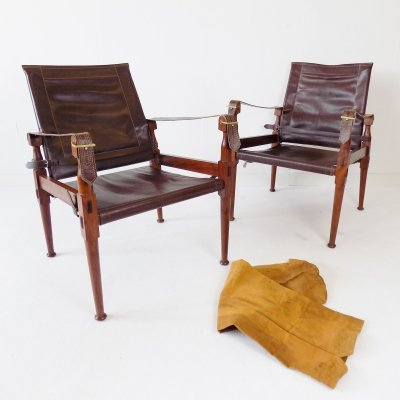 Pair of Hayat Safari Roorkee chairs with transport bag, 1960s