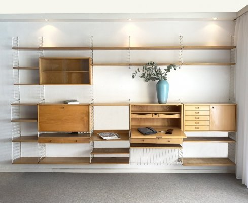 Mid-Century modular String Wall Shelf System by Katja & Nils Strinning for String, Sweden 1950s