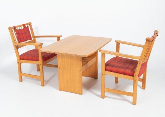 Yngve Ekstrom 'Furubo' armchairs with a table produced by Swedese, 1970's