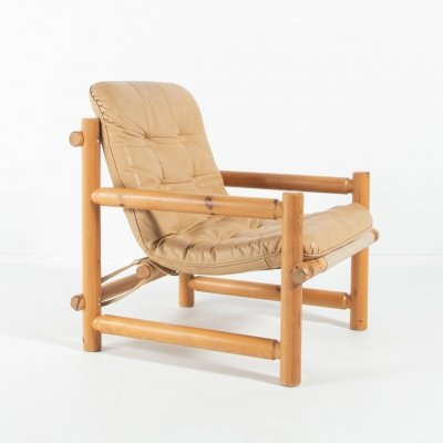 Scandinavian Modern pine lounge chair from Hameen Kalustaja, Finland 1960's