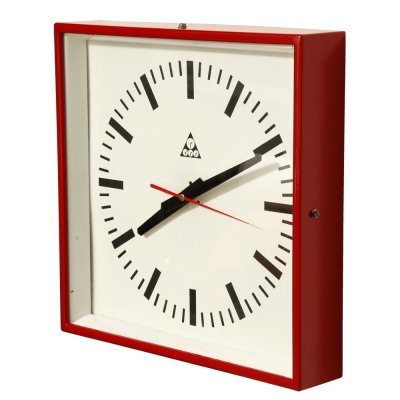 Metal Red Type C 301 Wall Clock by Pragotron, Czechoslovakia 1970s