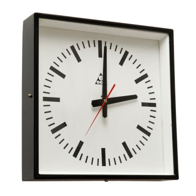 Metal Black C 301 Wall Clock by Pragotron, Czechoslovakia 1970s