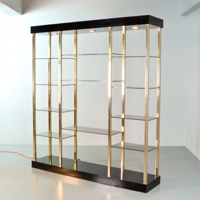 Belgo Chrom Black Lacquered Shelving Unit with 20 Carat Gold Frame & Smokey Glass