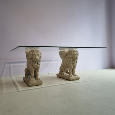 Cantera Stone Monumental Lion Pillar Coffee Table With Glass Top