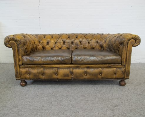 Vintage gold brown leather Springvale Chesterfield sofa, 1970s