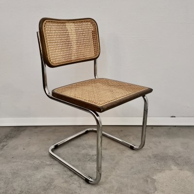 Vintage Chair in chrome, wood & cane, 1970s