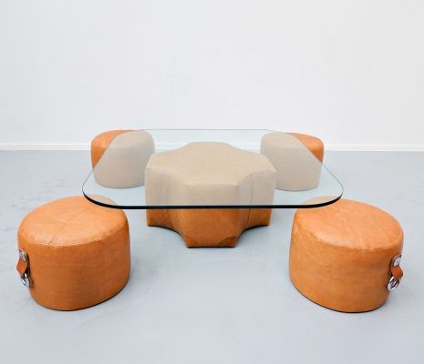 Leather & glass Coffee Table & 4 Stools by Guido Faleschini, 1970s