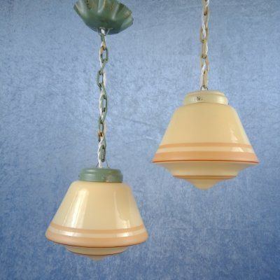 Pair of Art Deco yellow glass pendants, Sweden 1940s