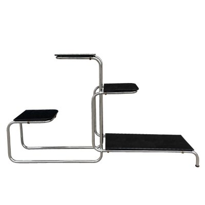 Tubular Chrome & Glass Etagere/Flower Stand by Emile Guyot for Thonet, 1930s