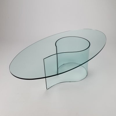 Italian Curved Glass Coffee Table by Fiam Italy, 1990s