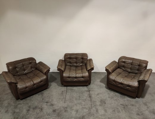 Set of 3 Vintage leather DS11 armchairs by De Sede, 1970s