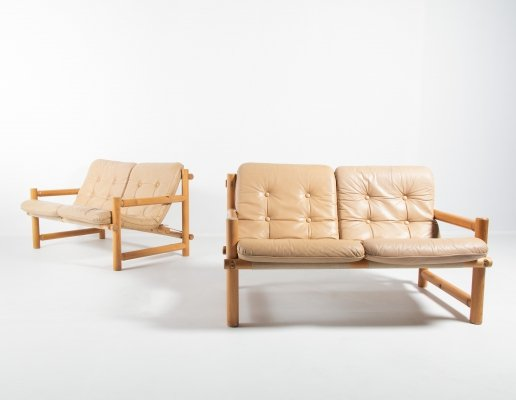 Set of 2 Scandinavian Modern pine sofas from Hameen Kalustaja, Finland 1960's