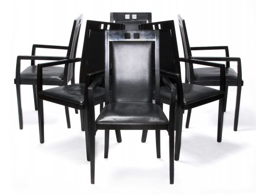 Set of 6 Rare Thonet Dining Arm Chairs, 1980s
