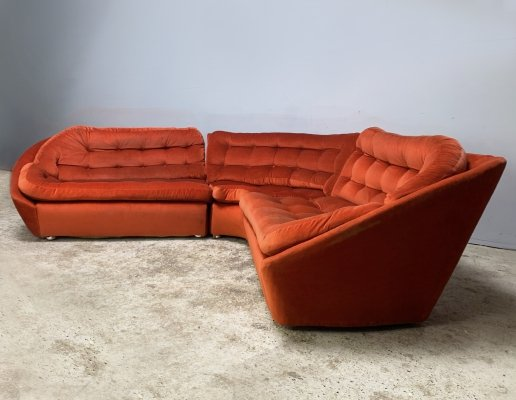 1970's mid century modern velour sectional sofa by Vono